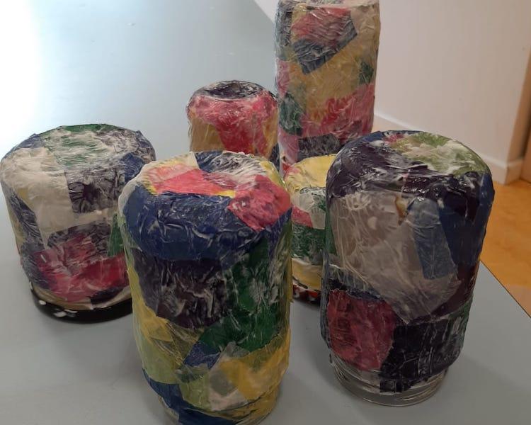 Windlichter, beklebt mit Transparentpapier, Kleister, Herbst, basteln